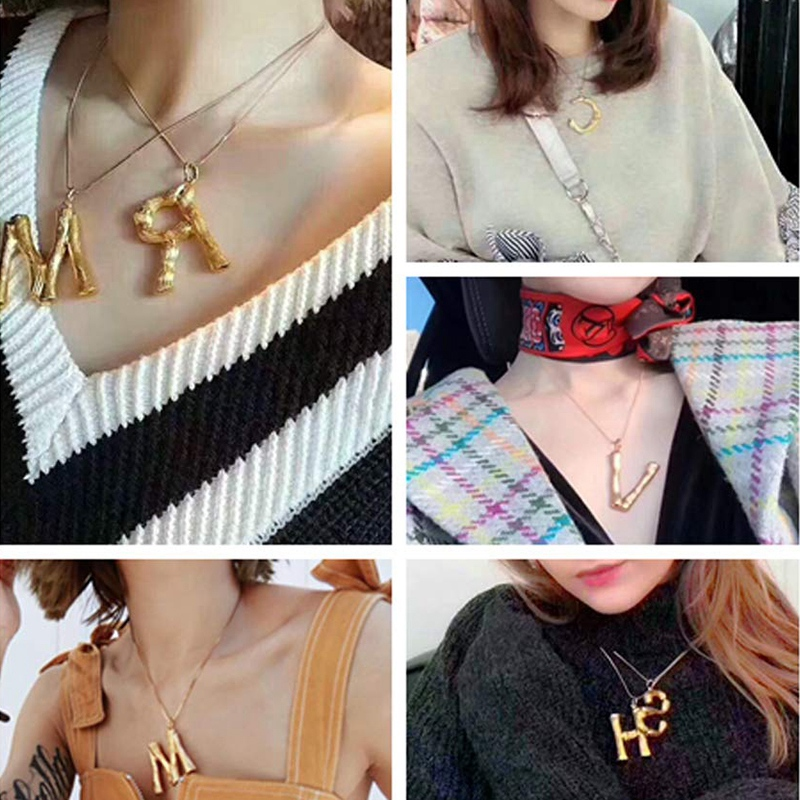 Joya-Collar-De-Letra-Collar-Colgante-De-Cadena-De-Oro-Pendiente-De-Grande-L-Z6M8 miniatura 76