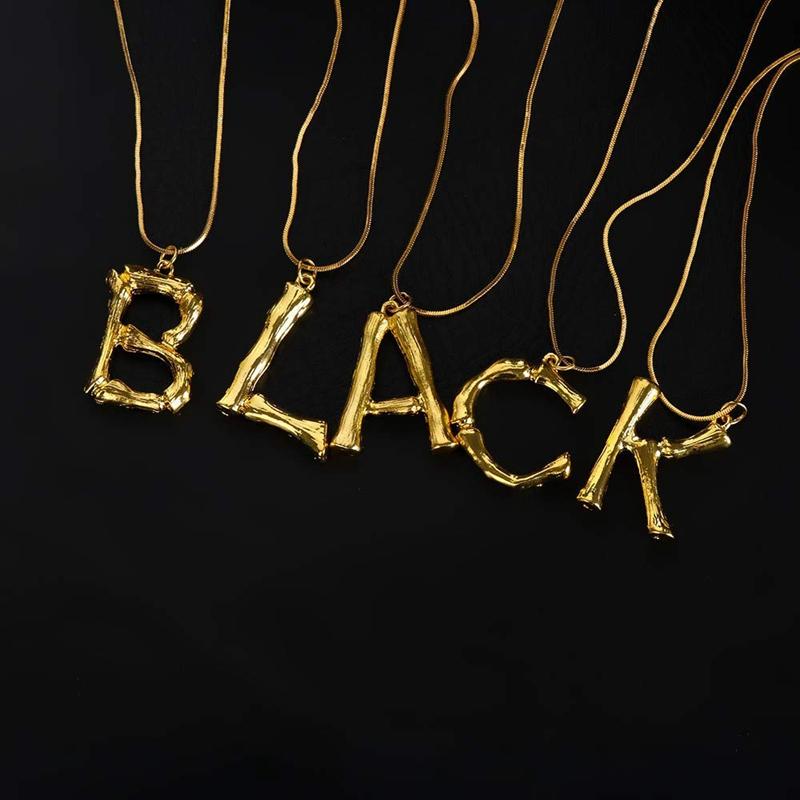 Joya-Collar-De-Letra-Collar-Colgante-De-Cadena-De-Oro-Pendiente-De-Grande-L-Z6M8 miniatura 78