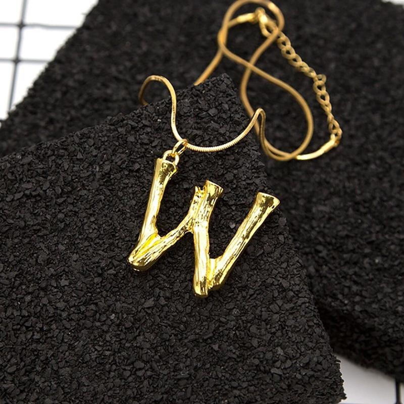Joya-Collar-De-Letra-Collar-Colgante-De-Cadena-De-Oro-Pendiente-De-Grande-L-Z6M8 miniatura 129