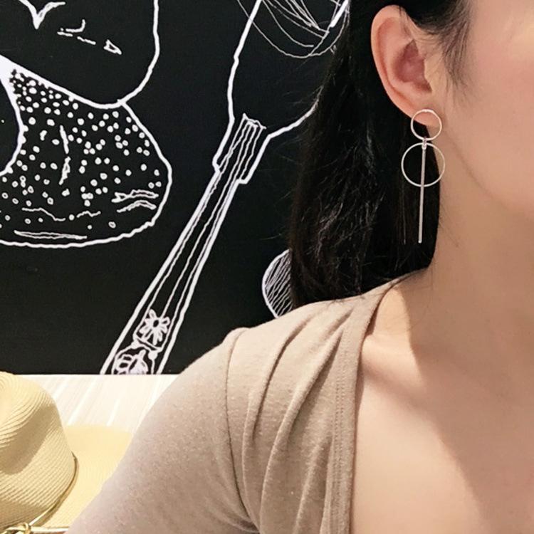 Fashion-Earrings-Punk-Simple-Long-Section-Tassel-Pendant-Size-Circle-Earring-6G7 thumbnail 7