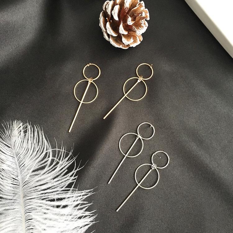 Fashion-Earrings-Punk-Simple-Long-Section-Tassel-Pendant-Size-Circle-Earring-6G7 thumbnail 12