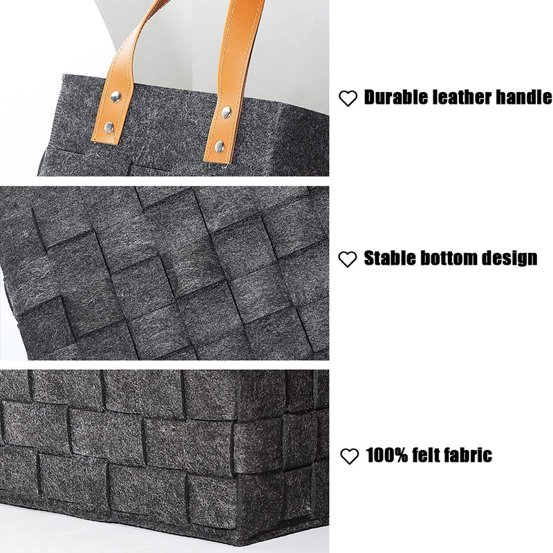 Felt-Storage-Baskets-With-Handles-Soft-Durable-Toy-Storage-Nursery-Bins-Home-Dec thumbnail 4