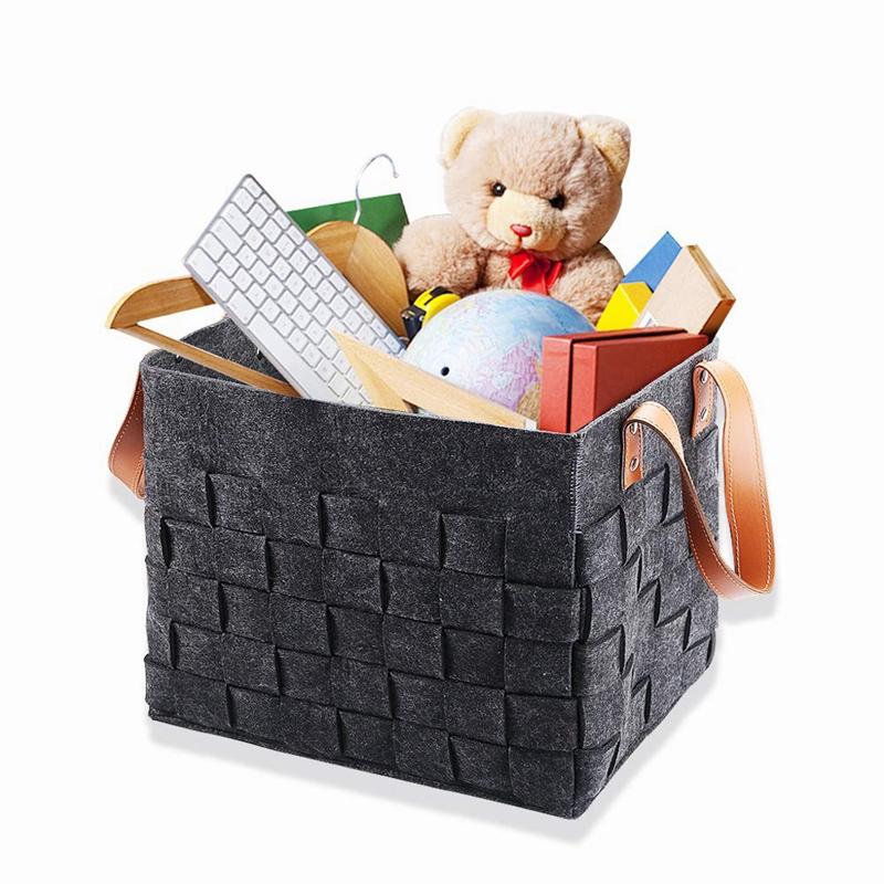 Felt-Storage-Baskets-With-Handles-Soft-Durable-Toy-Storage-Nursery-Bins-Home-Dec thumbnail 5