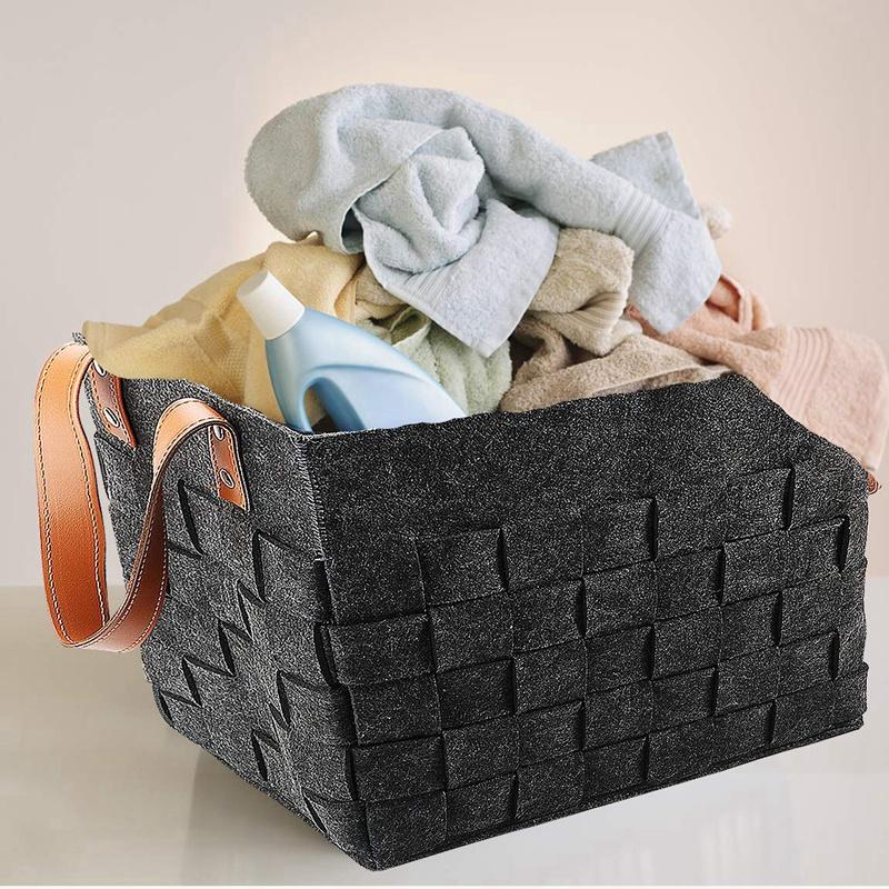 Felt-Storage-Baskets-With-Handles-Soft-Durable-Toy-Storage-Nursery-Bins-Home-Dec thumbnail 7