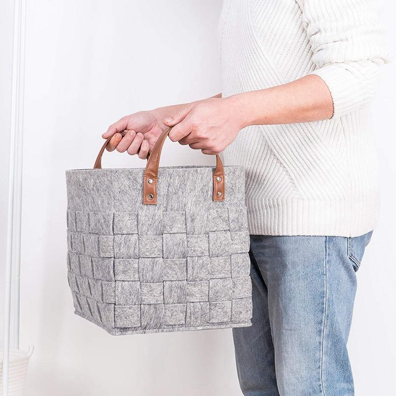 Felt-Storage-Baskets-With-Handles-Soft-Durable-Toy-Storage-Nursery-Bins-Home-Dec thumbnail 9