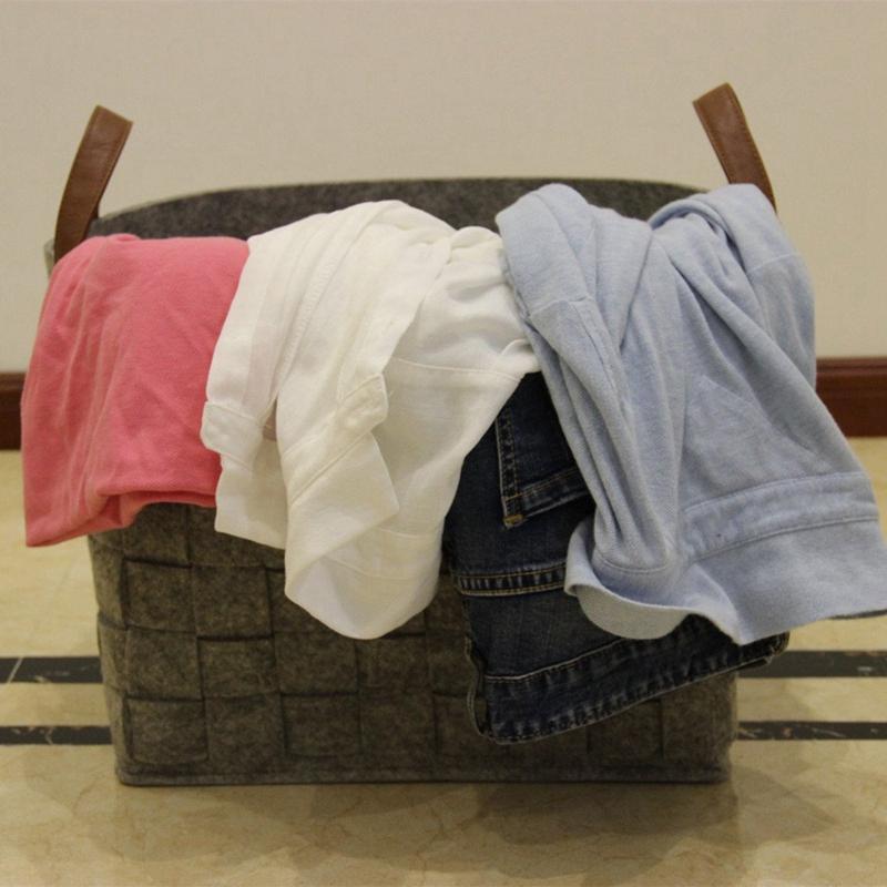 Felt-Storage-Baskets-With-Handles-Soft-Durable-Toy-Storage-Nursery-Bins-Home-Dec thumbnail 10