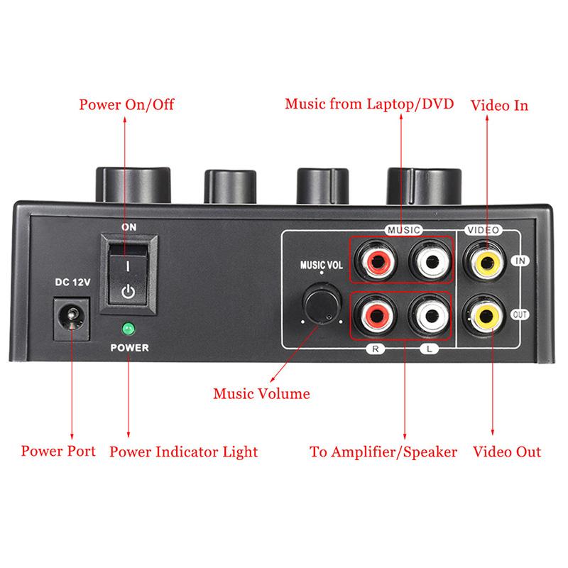 Tragbar-Doppel-Mic-Eingaenge-Audio-Sound-Mixer-Fuer-Verstaerker-Und-Mikrofon-K-K5S7 Indexbild 5