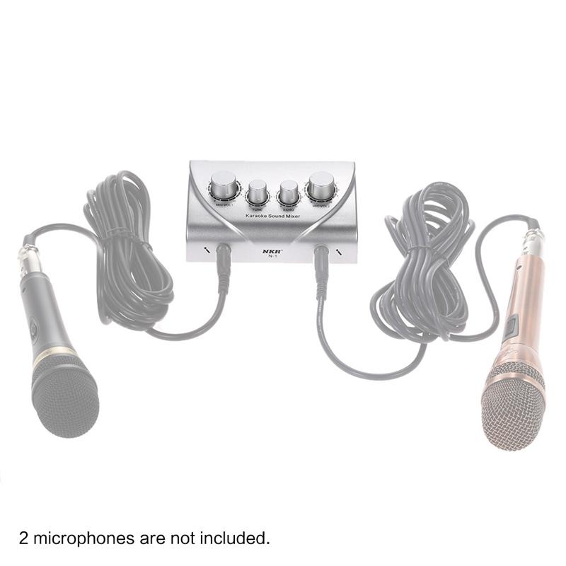 Tragbar-Doppel-Mic-Eingaenge-Audio-Sound-Mixer-Fuer-Verstaerker-Und-Mikrofon-K-K5S7 Indexbild 17