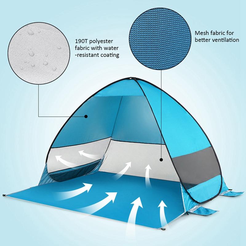 Tente-De-Plage-Automatique-Cabane-Portable-Upf-50-Abri-Soleil-Auvent-De-PEC-8Z5 miniature 17