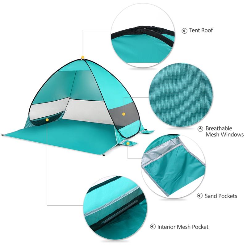 Tente-De-Plage-Automatique-Cabane-Portable-Upf-50-Abri-Soleil-Auvent-De-PEC-8Z5 miniature 21