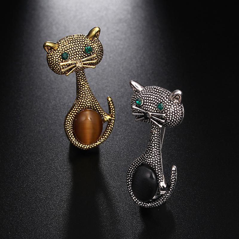 Vintage-oPalo-Broche-De-Ojo-De-Gato-Patas-Para-Mujer-Broches-De-Animales-Li-L5G9 miniatura 5