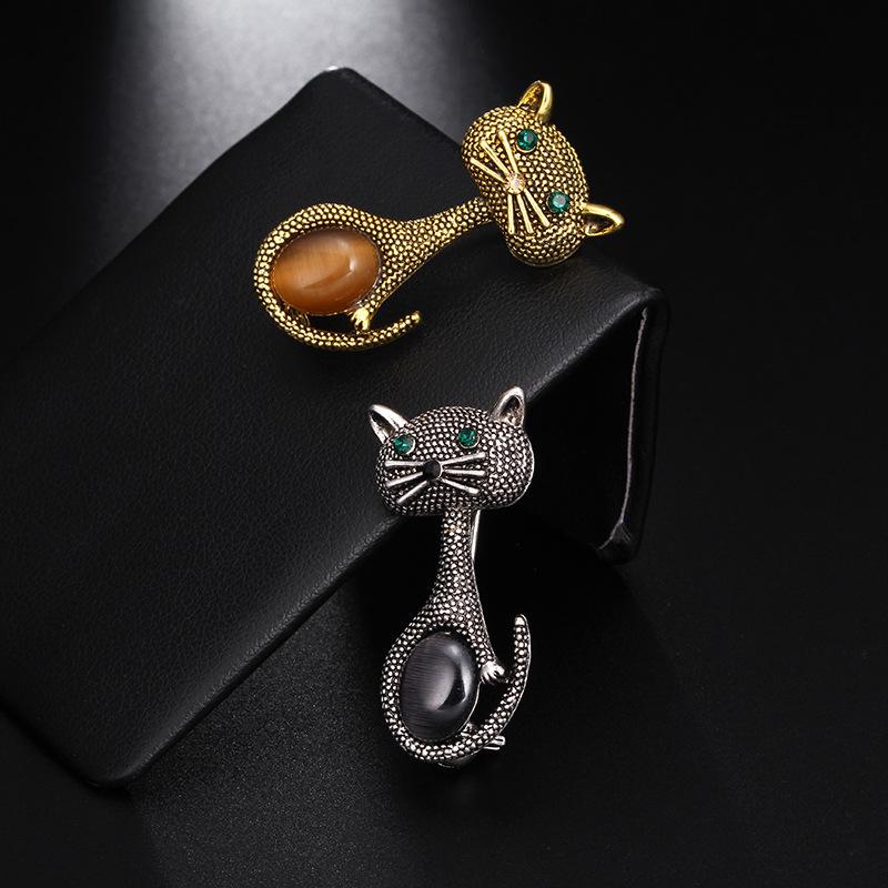 Vintage-oPalo-Broche-De-Ojo-De-Gato-Patas-Para-Mujer-Broches-De-Animales-Li-L5G9 miniatura 7