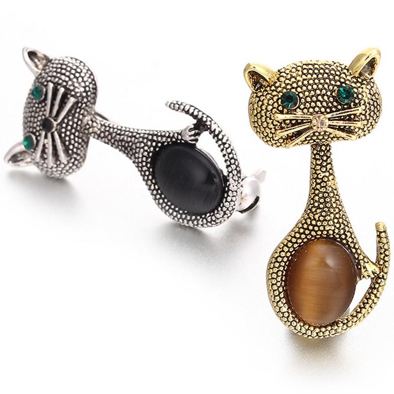 Vintage-oPalo-Broche-De-Ojo-De-Gato-Patas-Para-Mujer-Broches-De-Animales-Li-L5G9 miniatura 8