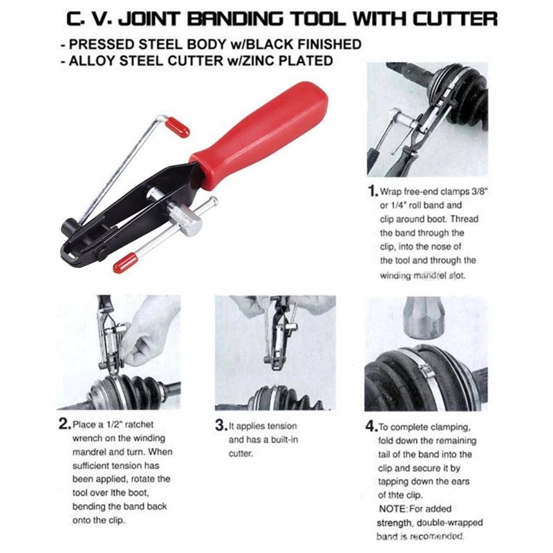 2pcs Auto Cv Joint Boot Clamps Cut-off Pliers Car Banding Install Tools Kit Set