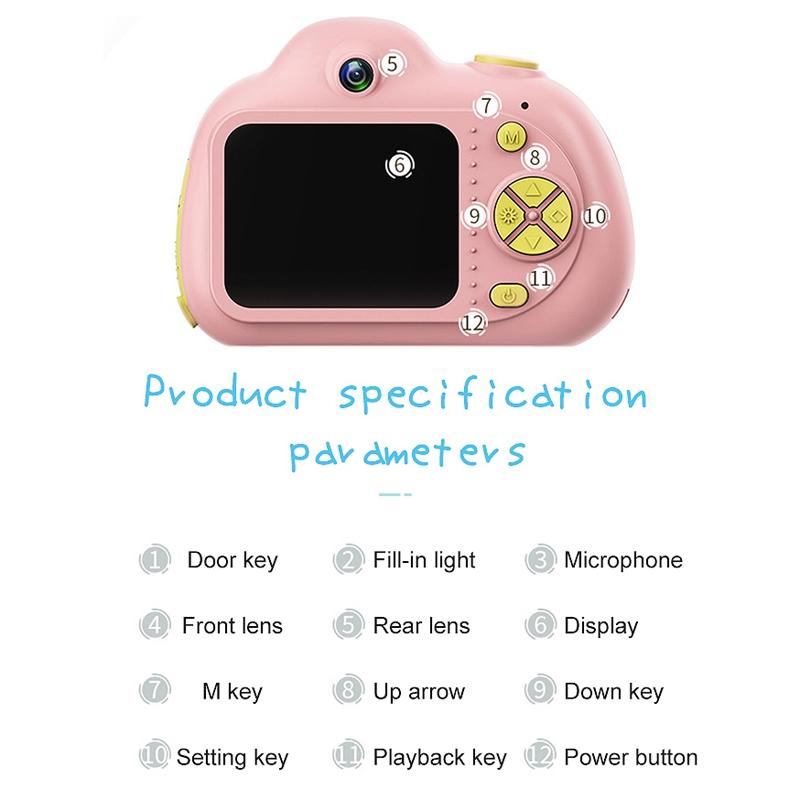 Camera-Numerique-Mignons-Pour-Enfant-Mini-Camera-Double-Lentille-Hd-1080P-C-E5S3 miniature 18