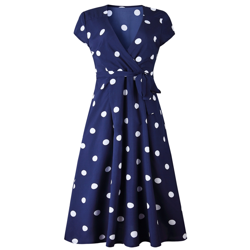 thumbnail 5 - Women-Polka-Dot-Print-Dress-Summer-Beach-Short-Sleeve-V-Neck-Dress-Elegant-G6N6
