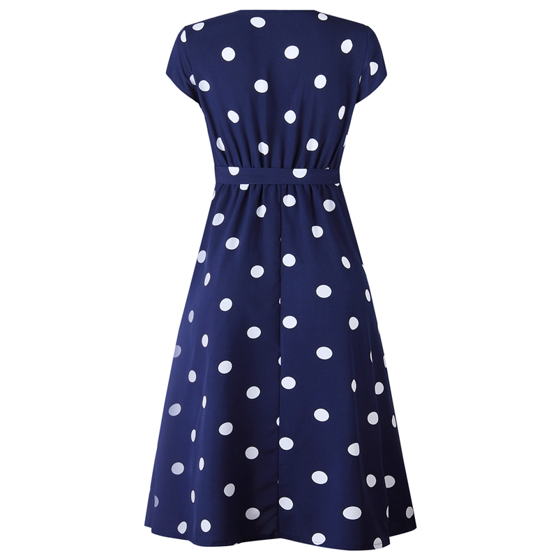thumbnail 6 - Women-Polka-Dot-Print-Dress-Summer-Beach-Short-Sleeve-V-Neck-Dress-Elegant-G6N6
