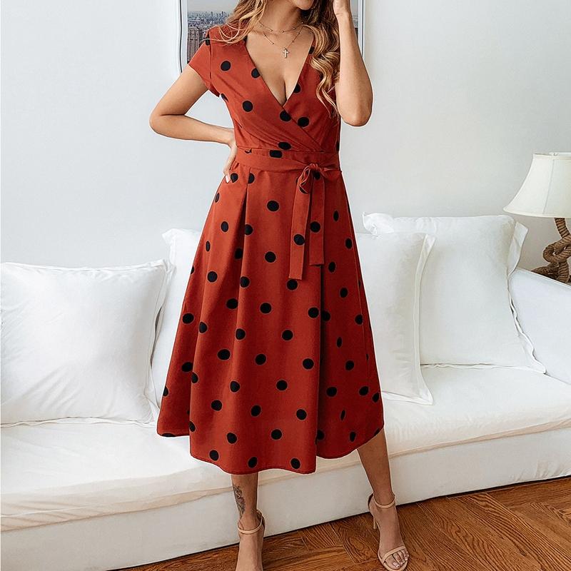 thumbnail 11 - Women-Polka-Dot-Print-Dress-Summer-Beach-Short-Sleeve-V-Neck-Dress-Elegant-G6N6