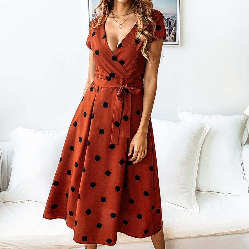 thumbnail 12 - Women-Polka-Dot-Print-Dress-Summer-Beach-Short-Sleeve-V-Neck-Dress-Elegant-G6N6