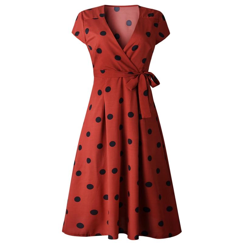 thumbnail 13 - Women-Polka-Dot-Print-Dress-Summer-Beach-Short-Sleeve-V-Neck-Dress-Elegant-G6N6