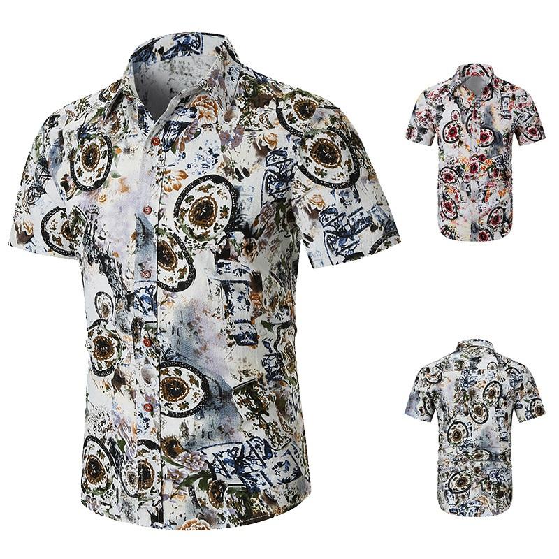 1X-Camisas-Para-Hombre-Verano-Moda-Casual-de-Impresion-Delgado-Solapa-Tende-I3Z8 miniatura 4