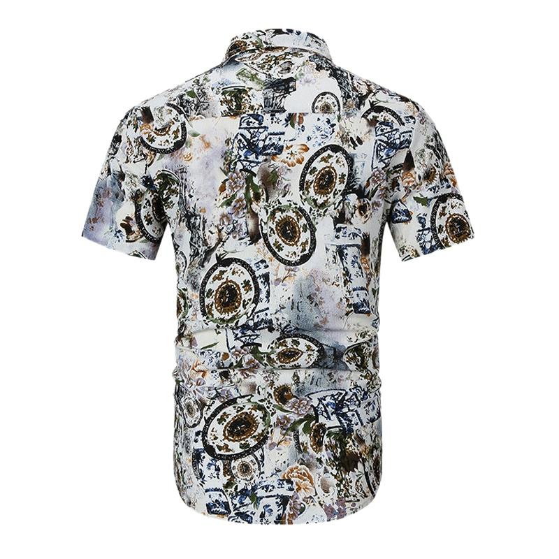 Camisas-Para-Hombre-Verano-Moda-Casual-de-Impresion-Delgado-Solapa-Tendenci-V8V8 miniatura 3