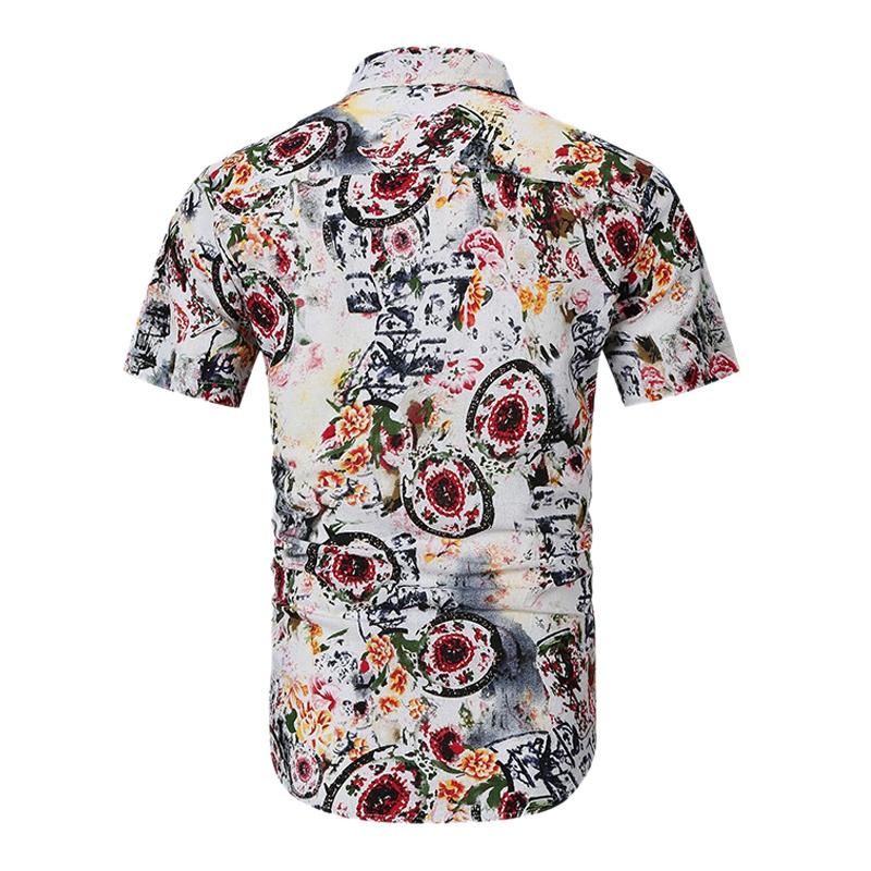 Camisas-Para-Hombre-Verano-Moda-Casual-de-Impresion-Delgado-Solapa-Tendenci-V8V8 miniatura 8