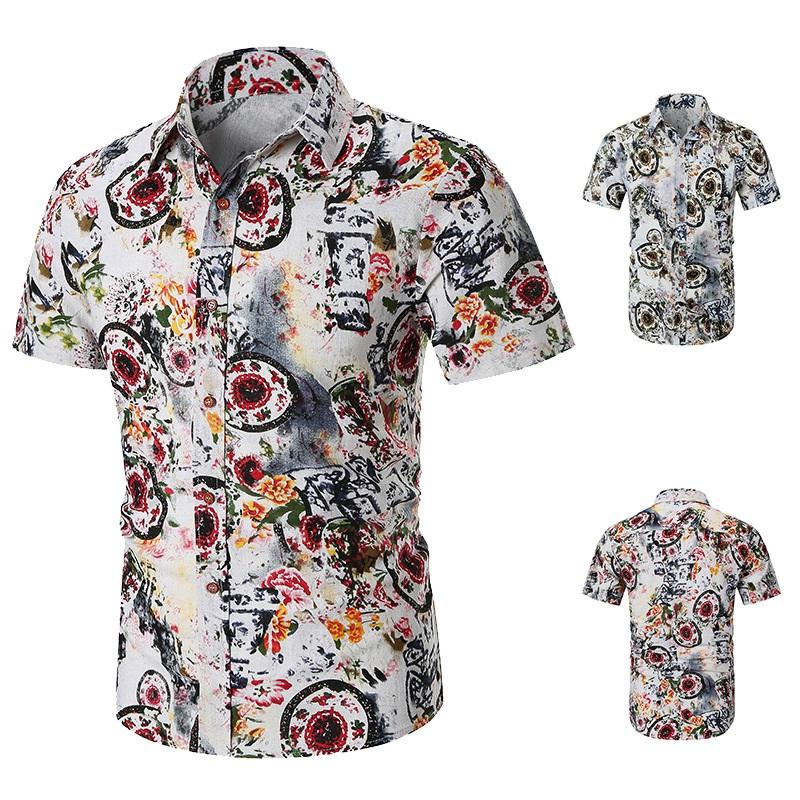 Camisas-Para-Hombre-Verano-Moda-Casual-de-Impresion-Delgado-Solapa-Tendenci-V8V8 miniatura 9
