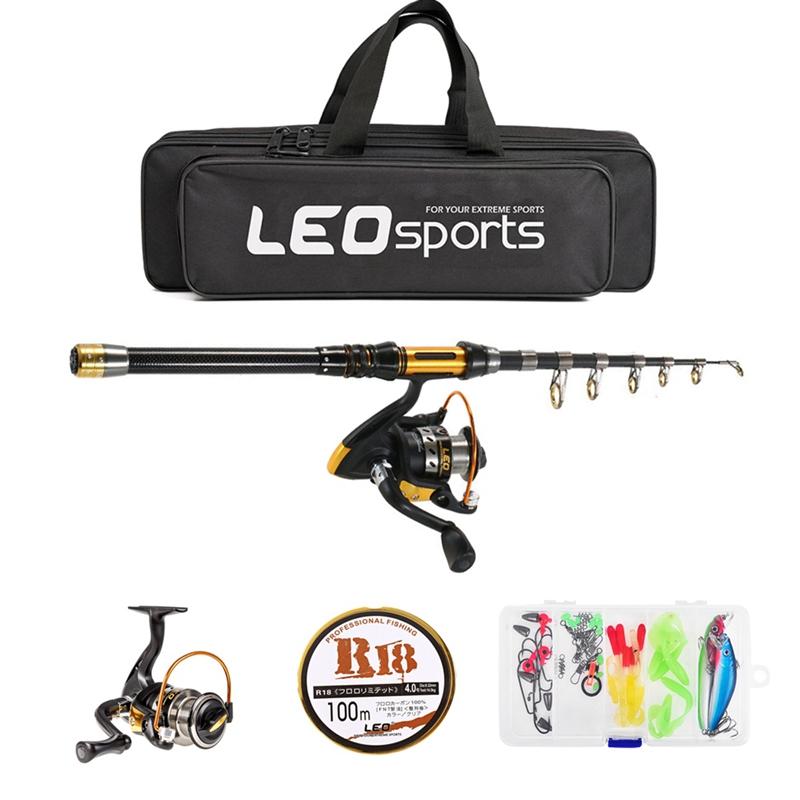 2X (Leo 2.1 M télescopique canne à pêche et moulinet Combo Full Kit Spinning fishingv 7G9)