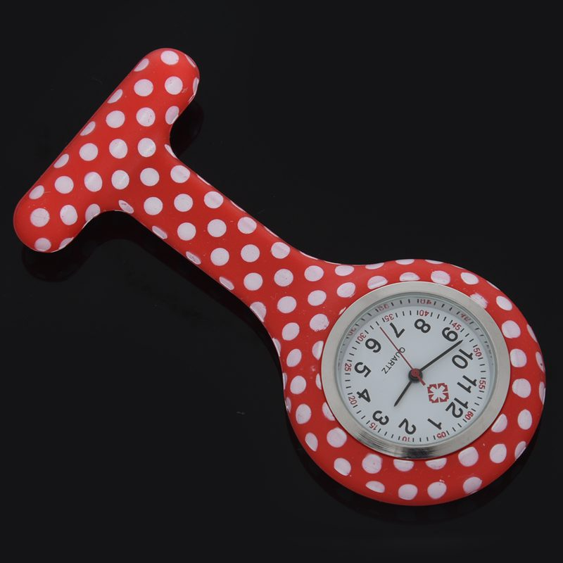 Rose-red-white-flower-pattern-Silicone-Nurses-Brooch-Tunic-Fob-Pocket-Watch-S4U1 thumbnail 32