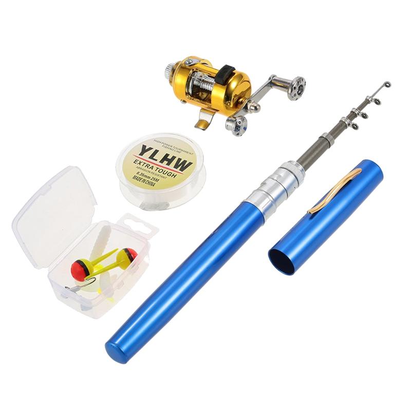 LAANCOO 1PC Stift Angelrute Minitasche Angelrute Portable Teleskop Tasche Angelrute Angelzubeh/ör rot