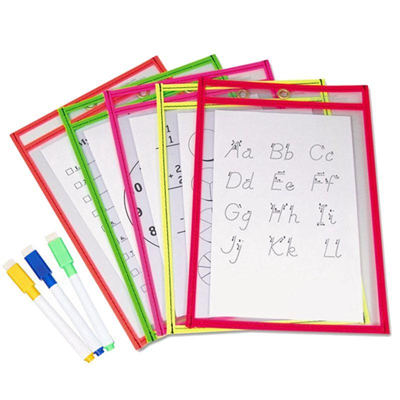 10x-Transparent-Pvc-Reusable-Dry-Erase-Pockets-Storage-Pockets-10pcs-Pens-M-L8W1 thumbnail 3