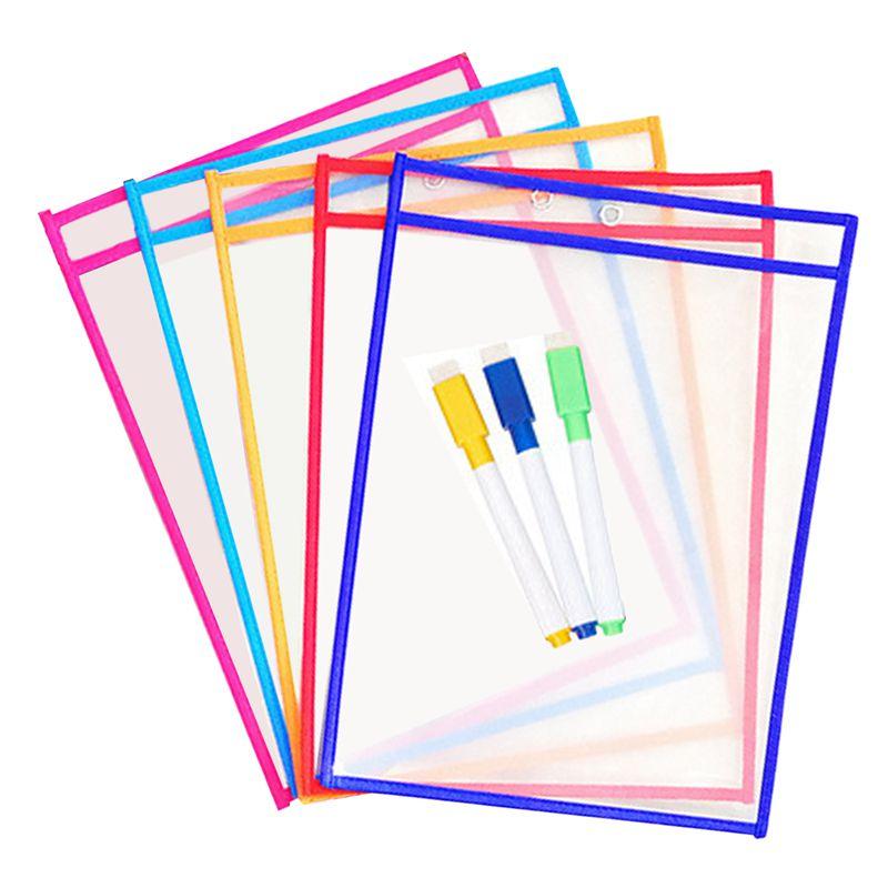 10x-Transparent-Pvc-Reusable-Dry-Erase-Pockets-Storage-Pockets-10pcs-Pens-M-L8W1