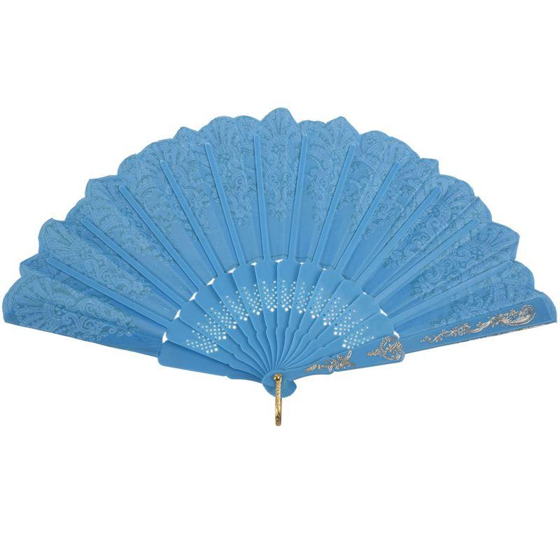 5X-Chinese-Style-Bling-Flower-Pattern-Party-Wedding-Folding-Hand-Fan-sky-bl-H1Z8 thumbnail 2