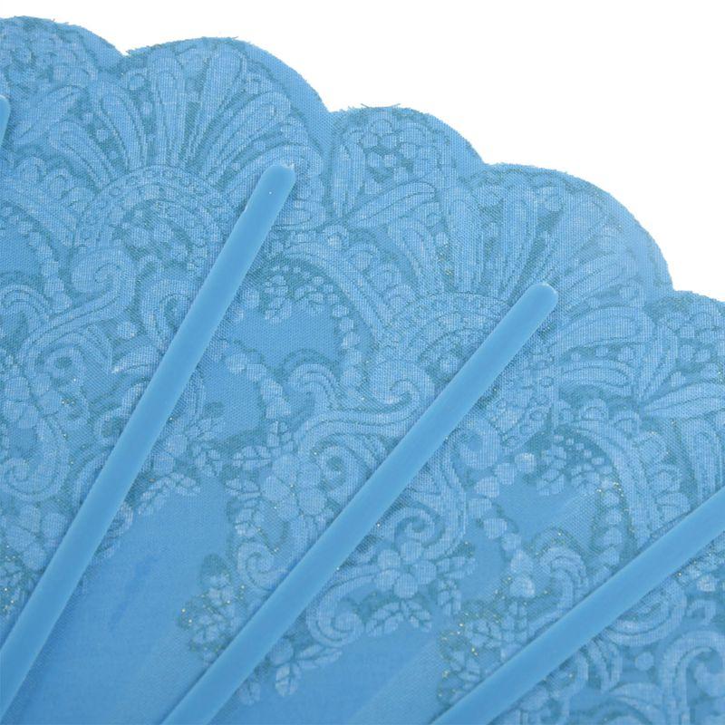 5X-Chinese-Style-Bling-Flower-Pattern-Party-Wedding-Folding-Hand-Fan-sky-bl-H1Z8 thumbnail 7