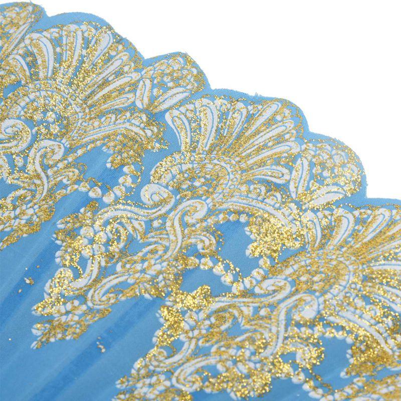 5X-Chinese-Style-Bling-Flower-Pattern-Party-Wedding-Folding-Hand-Fan-sky-bl-H1Z8 thumbnail 8
