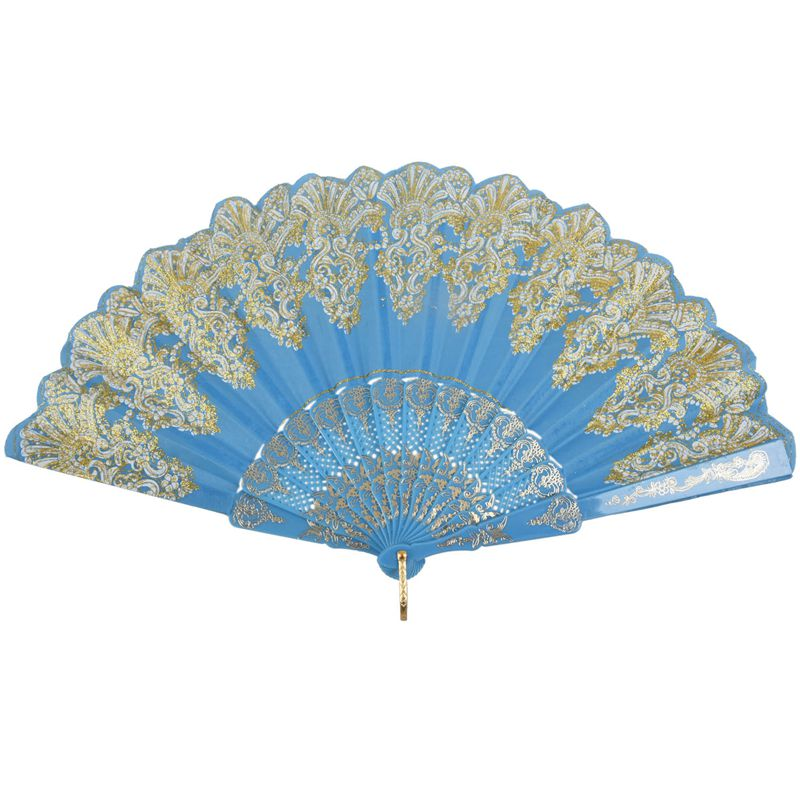 5X-Chinese-Style-Bling-Flower-Pattern-Party-Wedding-Folding-Hand-Fan-sky-bl-H1Z8