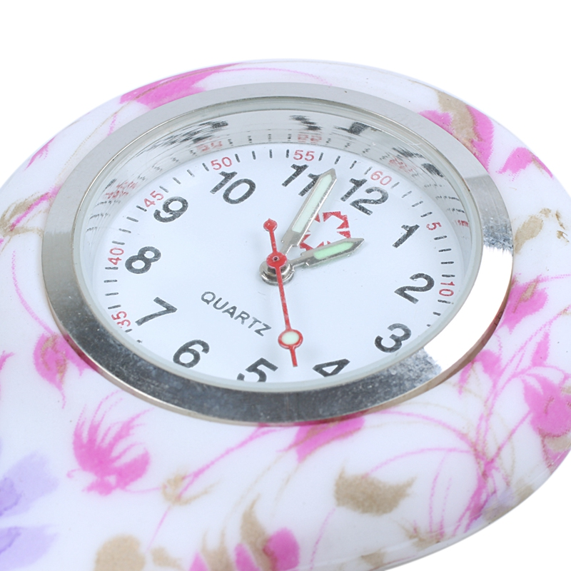 Rose-red-white-flower-pattern-Silicone-Nurses-Brooch-Tunic-Fob-Pocket-Watch-S4U1 thumbnail 5