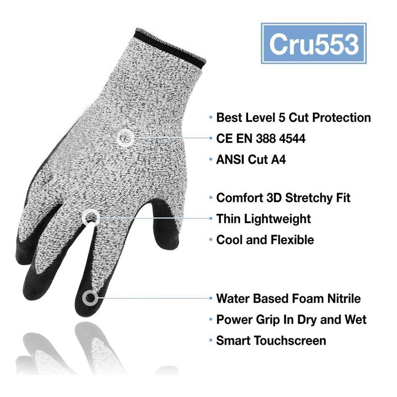 3X-Nivel-5-Guantes-Resistentes-Al-Corte-3D-Ajuste-Elastico-de-Confort-Durade-W6H miniatura 2
