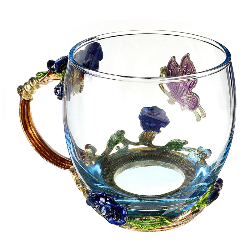 Beauty-And-Novelty-Enamel-Coffee-Cup-Mug-Flower-Tea-Glass-Cups-For-Hot-And-K5Y1 thumbnail 3