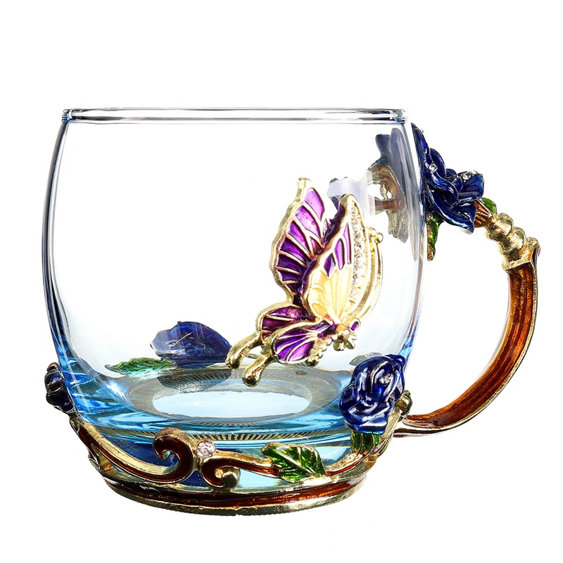 Beauty-And-Novelty-Enamel-Coffee-Cup-Mug-Flower-Tea-Glass-Cups-For-Hot-And-K5Y1 thumbnail 4