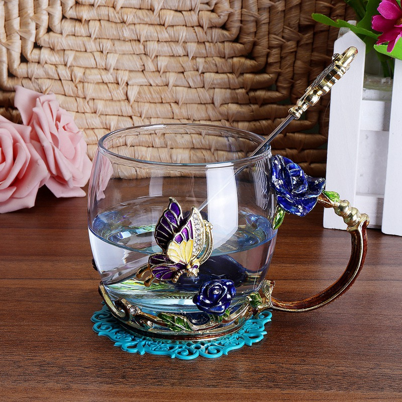 Beauty-And-Novelty-Enamel-Coffee-Cup-Mug-Flower-Tea-Glass-Cups-For-Hot-And-K5Y1 thumbnail 6