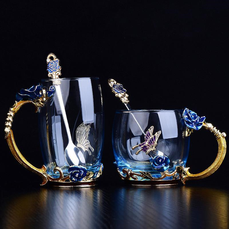 Beauty-And-Novelty-Enamel-Coffee-Cup-Mug-Flower-Tea-Glass-Cups-For-Hot-And-K5Y1 thumbnail 7