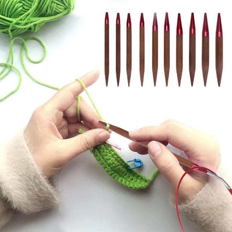 Circular Bamboo Knitting Needles Set with Colored Tube 2.0mm-10.0mm 80cm A2I1