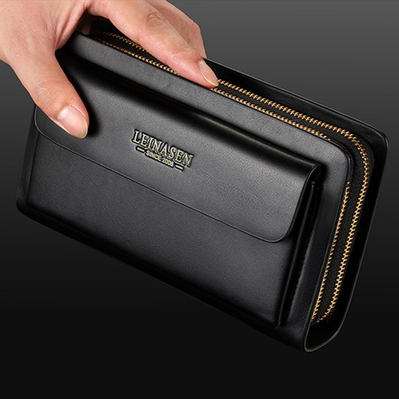 Leinasen-Brand-Men-Wallets-With-Coin-Pocket-Zipper-Double-Zipper-Male-Walle-S2N8 thumbnail 13