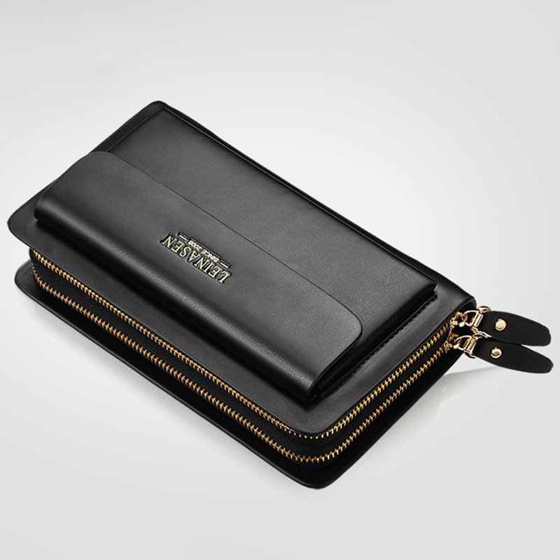 Leinasen-Brand-Men-Wallets-With-Coin-Pocket-Zipper-Double-Zipper-Male-Walle-S2N8 thumbnail 14