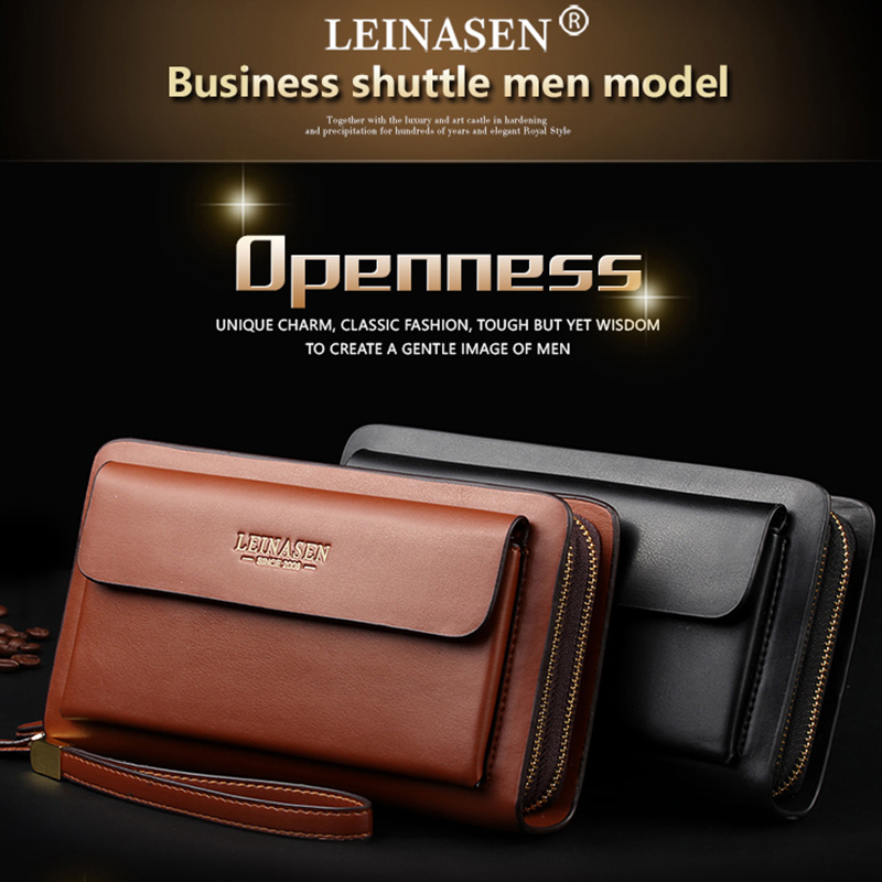 Leinasen-Brand-Men-Wallets-With-Coin-Pocket-Zipper-Double-Zipper-Male-Walle-S2N8 thumbnail 16