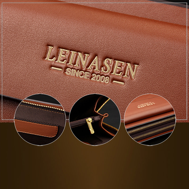 Leinasen-Brand-Men-Wallets-With-Coin-Pocket-Zipper-Double-Zipper-Male-Walle-S2N8 thumbnail 19