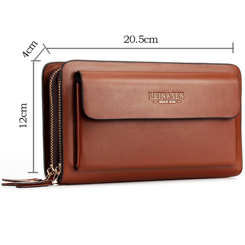 Leinasen-Brand-Men-Wallets-With-Coin-Pocket-Zipper-Double-Zipper-Male-Walle-S2N8 thumbnail 21