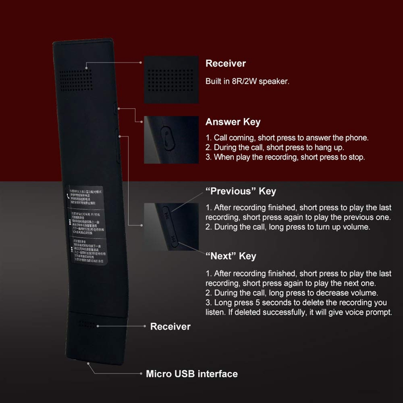 Waytronic Wireless Bluetooth Telephone Receiver Recorder